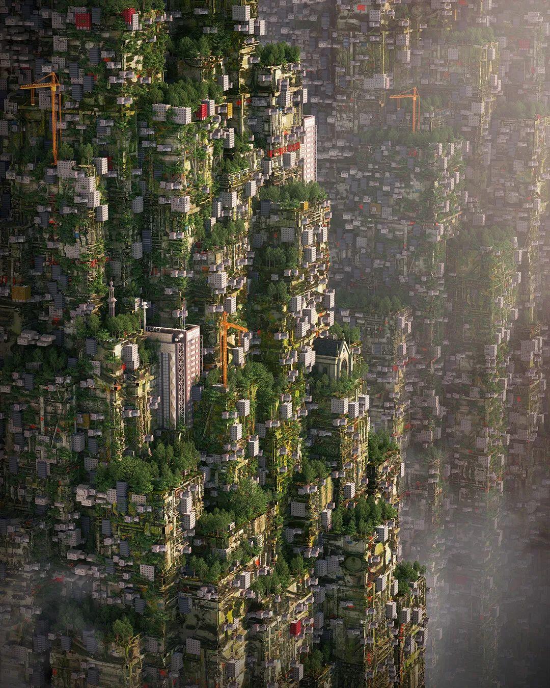 """光色太美!意大利3D艺术家用建筑""""堆""""起各种梦幻空间。密恐症慎入!"""